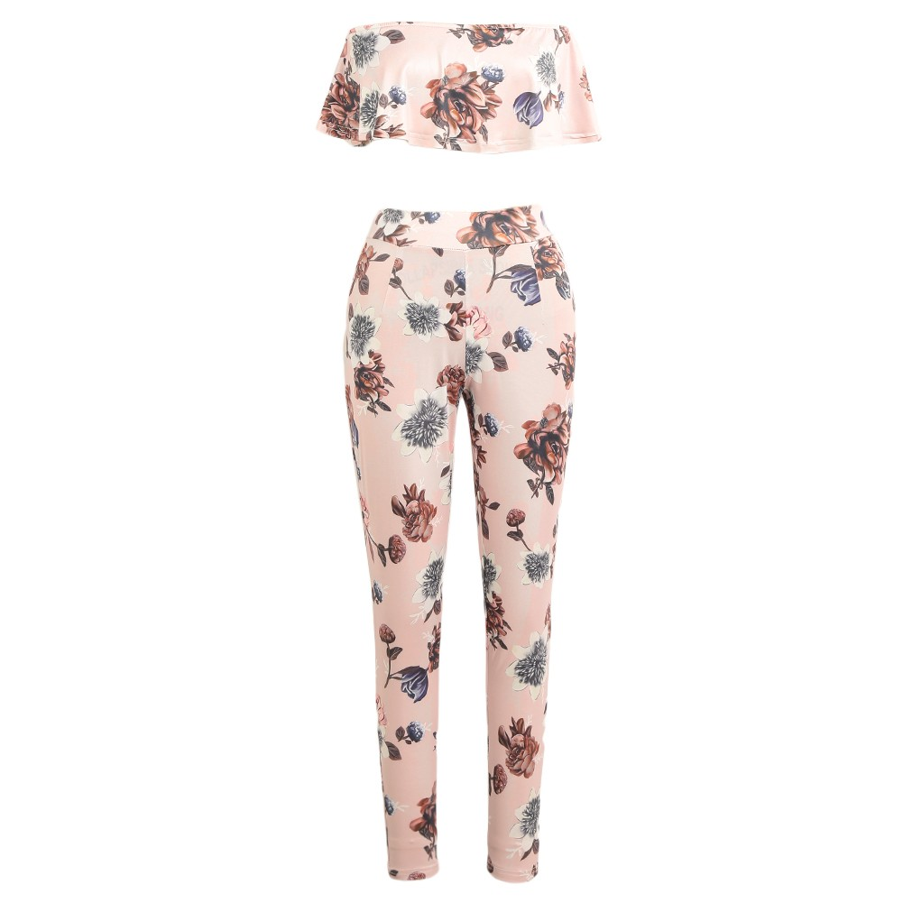 a7b428113 Casual Women Suit Sexy Two-piece Outfits Strapless Crop Top Long Pants  Floral Print Ruffles Bodycon Set Pink pink xl Online Shopping