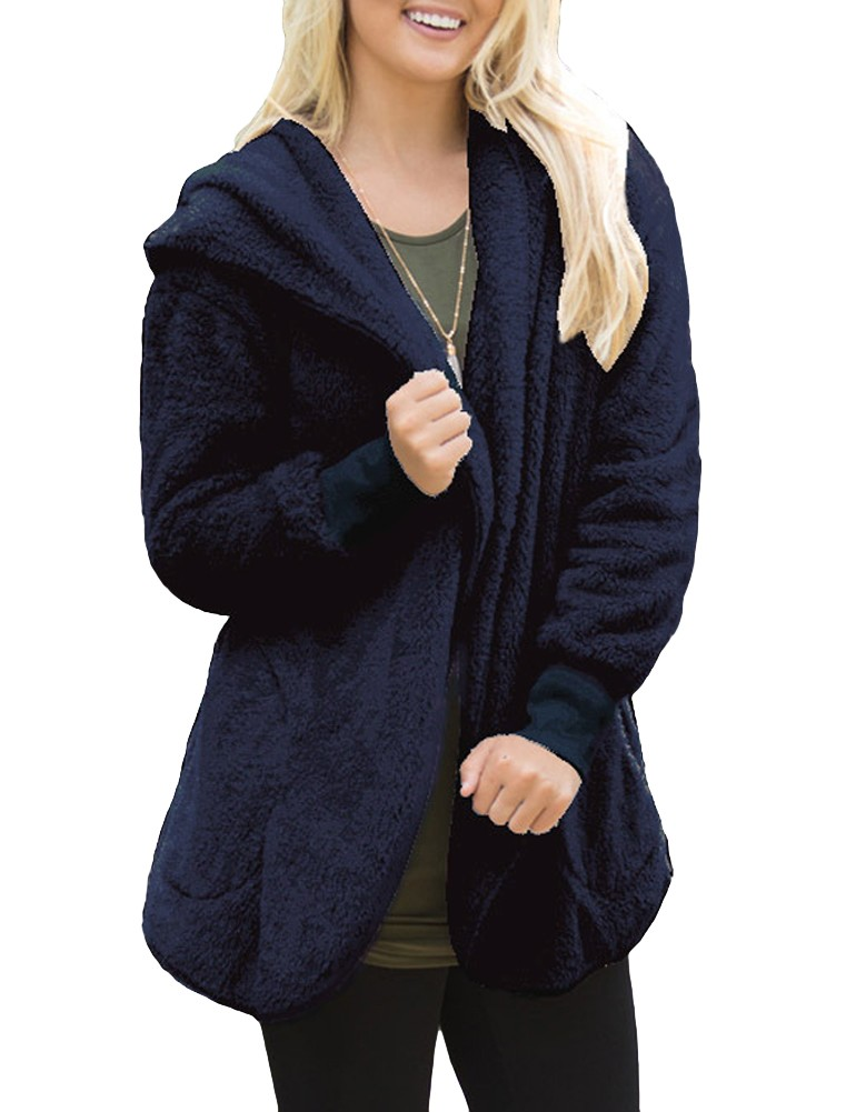 Cheap darkblue l Fashion Women Hooded Cardigan Cashmere Open Front ...