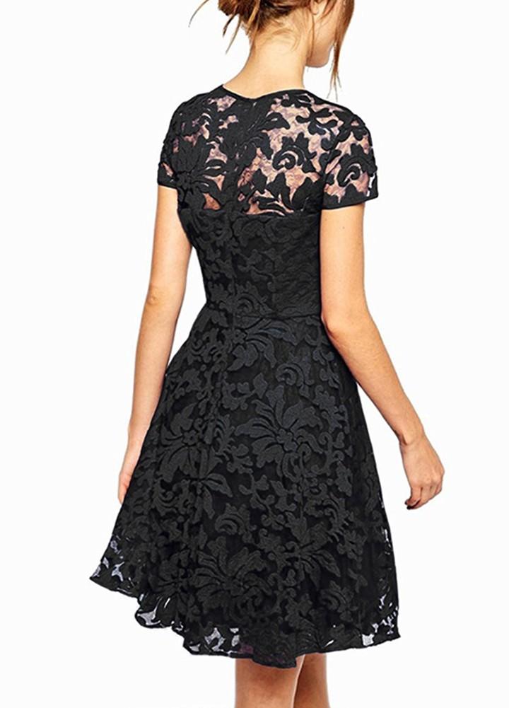 9f073f6a0 Nuevo vestido de encaje floral de las mujeres atractivas vestido de cóctel  de oscilación plisado de manga corta de cuello redondo azul   negro   rojo