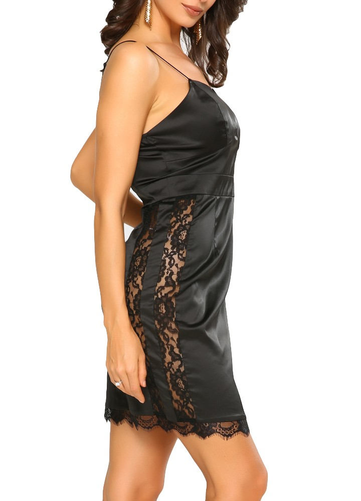 9ee86d43a6 Sexy Women Slip Dress Lace Hollow Out Satin Spaghetti Strap Slim Bodycon  Dress Party Clubwear Black