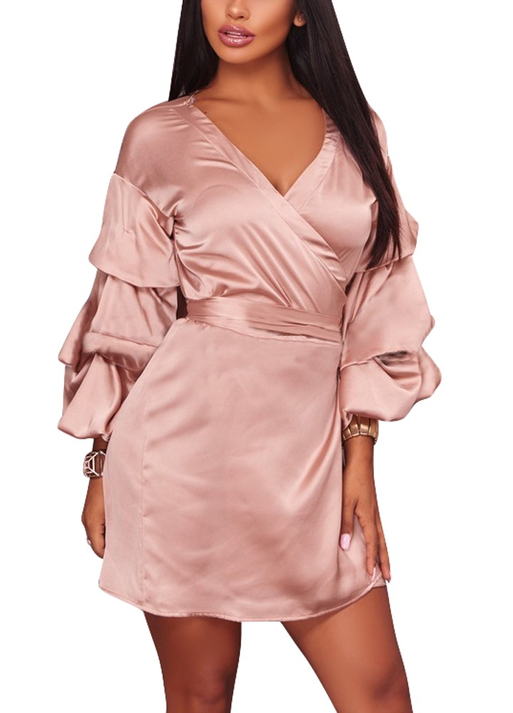 Vestido de satén para mujer Vestido de fiesta con cuello en V ...