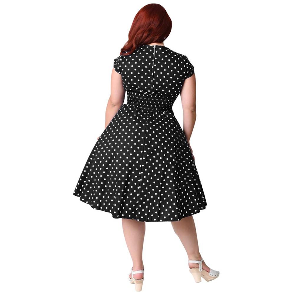 Vestito a pois retrò dalle proporzioni femminili Vestito anni  60 anni  60  vestito da swing rockabilly Vestito longuette da party a-line nero   blu  scuro ... c06f59f3a75