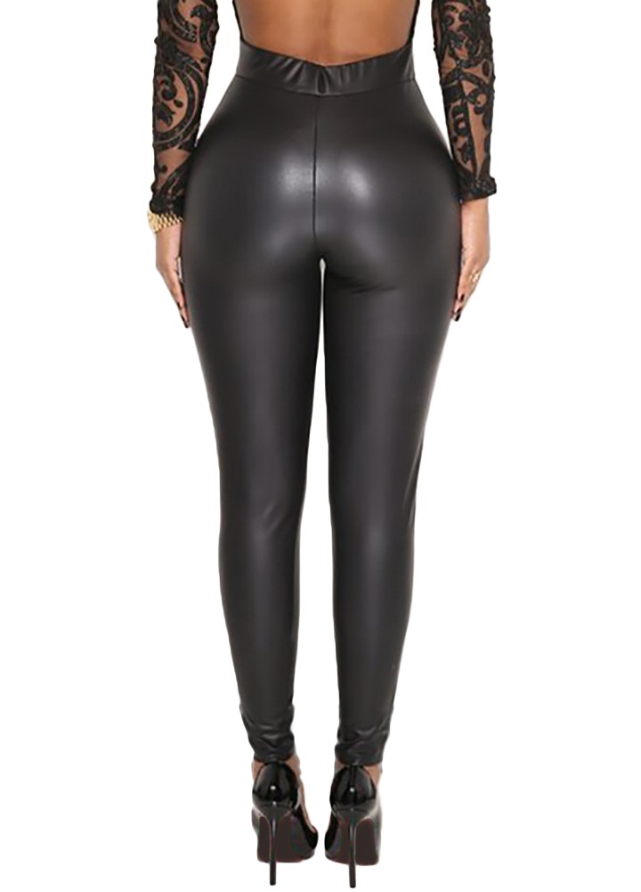 9ef12d488ee56 Sexy Women Pu Wet Look Faux Leather Stretchy Leggings Elastic Waist High  Rise Skinny Pants Trousers Jeggings Black
