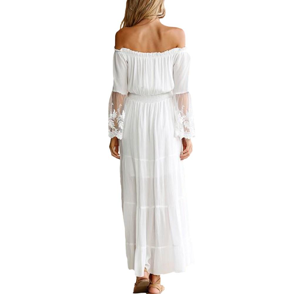 Sexy Frauen Maxi Langes Kleid weg von der Schulter Lace Flare Sleeve ...