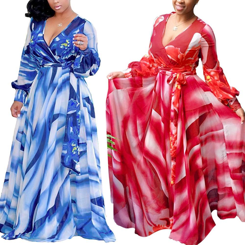 Vestido maxi de mujer sexy color degradado Floral con cuello en V ...