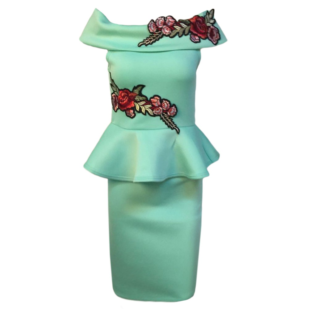 1aa5f7b1f2a0 Women Pencil Peplum Dress Embroidered Ruffles Off Shoulder Bodycon Slim  Club Vestidos Dress Watermelon Red Green green s Online Shopping
