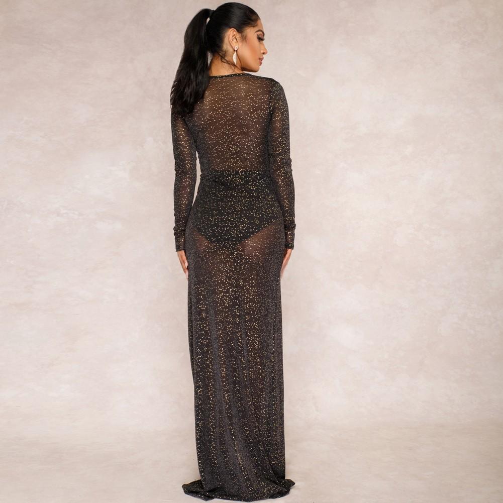 443395e675c80 Sexy Women Sheer Rhinestone Glitter Maxi Dress Deep V Neck Front Split Long  Sleeve Clubwear Formal Long Dress Black black m Online Shopping   Tomtop
