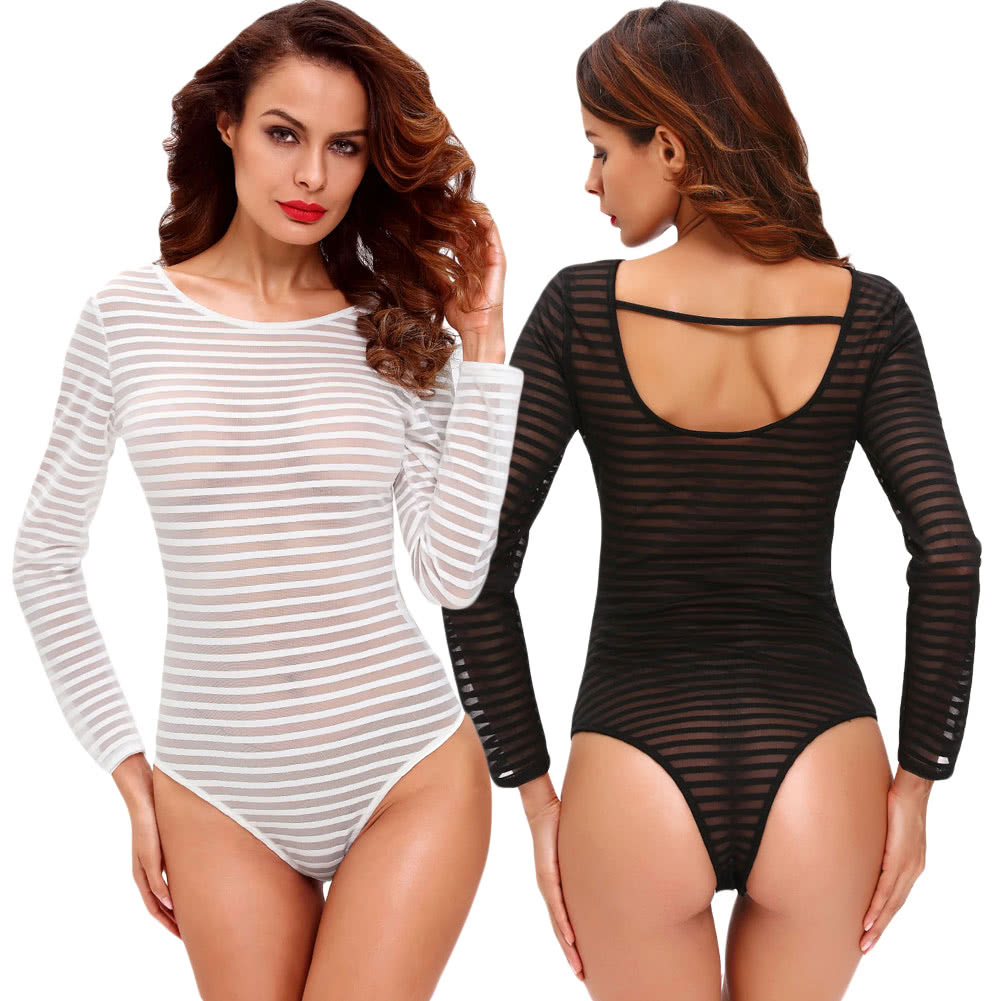 19ebcfbcef35 New Women Sexy Bodysuit Semi-sheer Stripe Round Neck Long Sleeve Tights Bodycon  Jumpsuit Rompers White Black black l Online Shopping