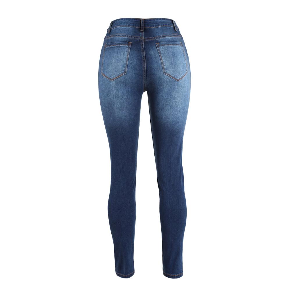 3a0fb3f16e Atractivos de las mujeres del dril de algodón pantalones vaqueros rasgados  agujero flacos de la alta cintura Washed estiramiento del lápiz pantalones  de las ...