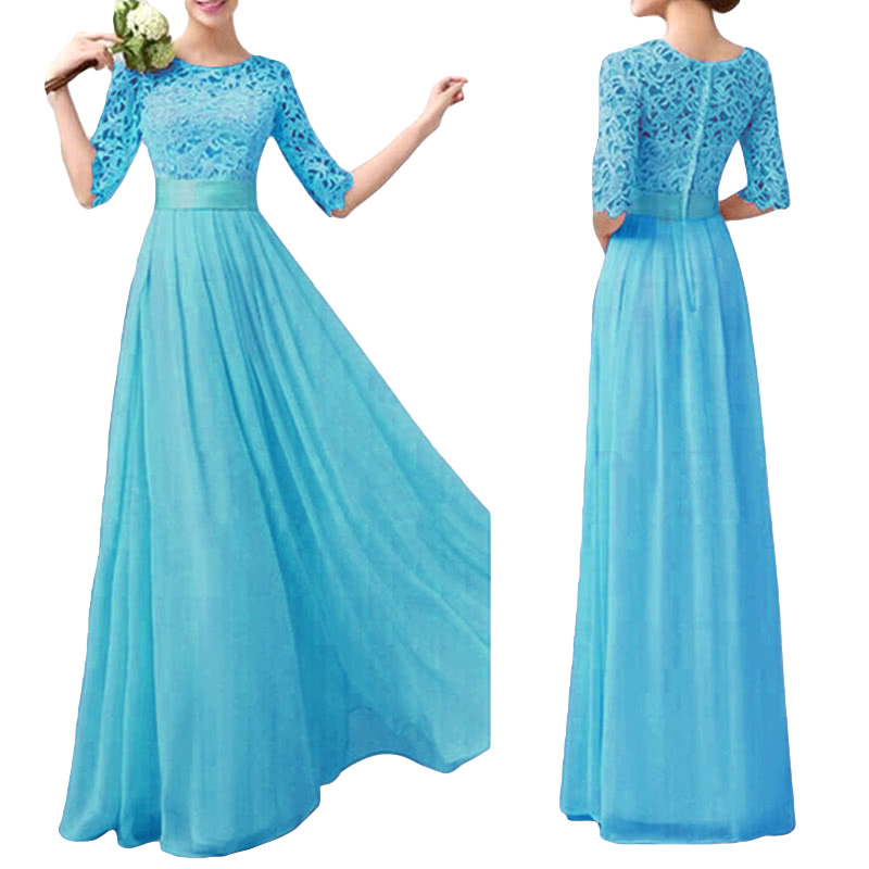 Women Dress Lace Chiffon Half Sleeve Slim Maxi Long Gown Elegant ...