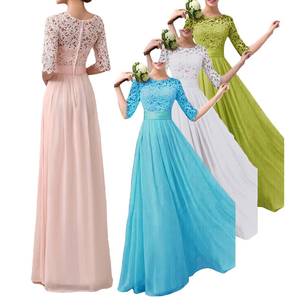 Women Dress Lace Chiffon Half Sleeve Slim Maxi Long Gown Elegant ...
