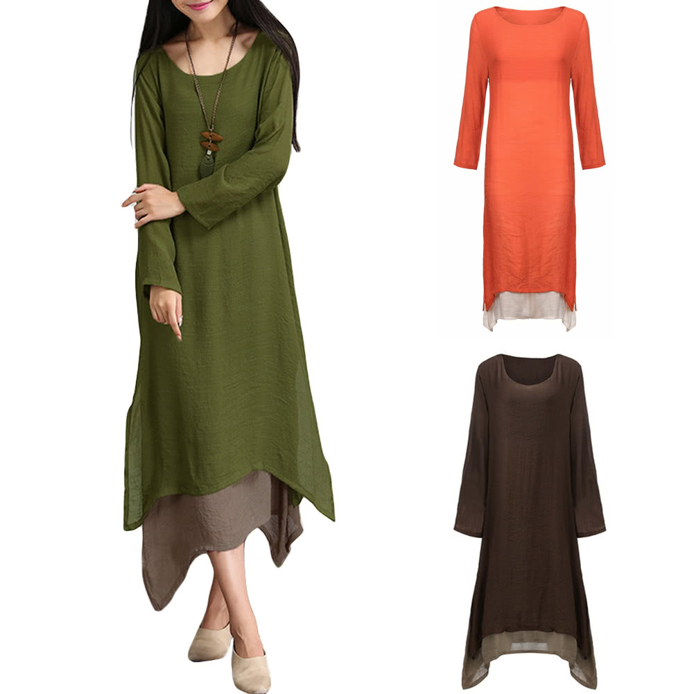 aa8c9dd2800 Women Cotton Linen Vintage Dress Contrast Double Layer Casual Loose Boho  Long Plus Size Retro Maxi Dress