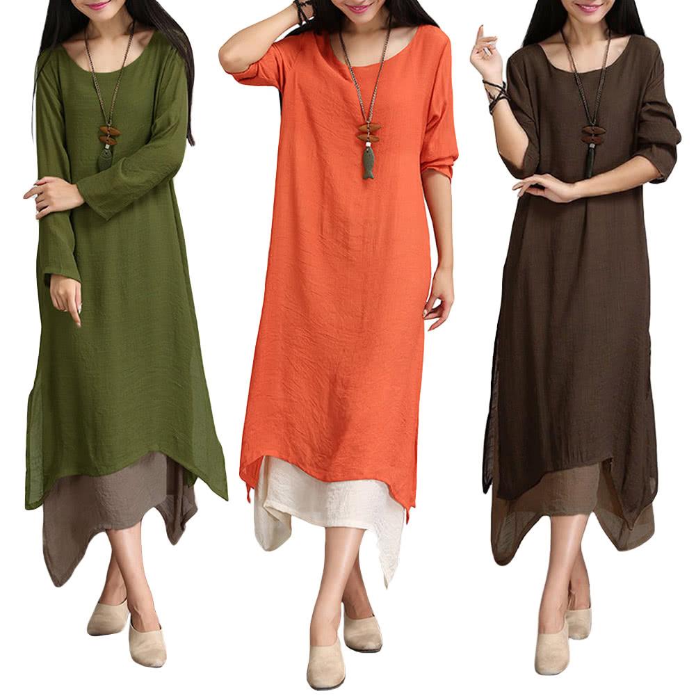 Women Cotton Linen Vintage Dress Contrast Double Layer ...