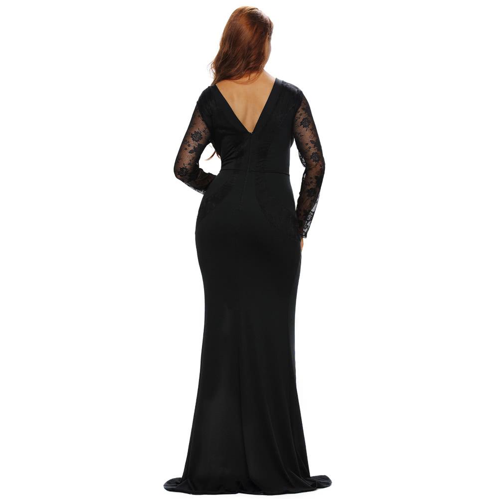eae2c92d570e Le donne maxi sexy vestito lungo in pizzo trasparente Scontornabile Split  manica lunga elegante partito Slim abito da sera nero
