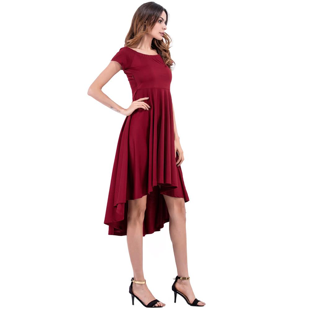 Women Dress Solid Color Off Shoulder Slash Neck High Waist Asymmetric  Elegant Evening Party Club One-Piece Burgundy Black burgundy s Online  Shopping  63be39f57d