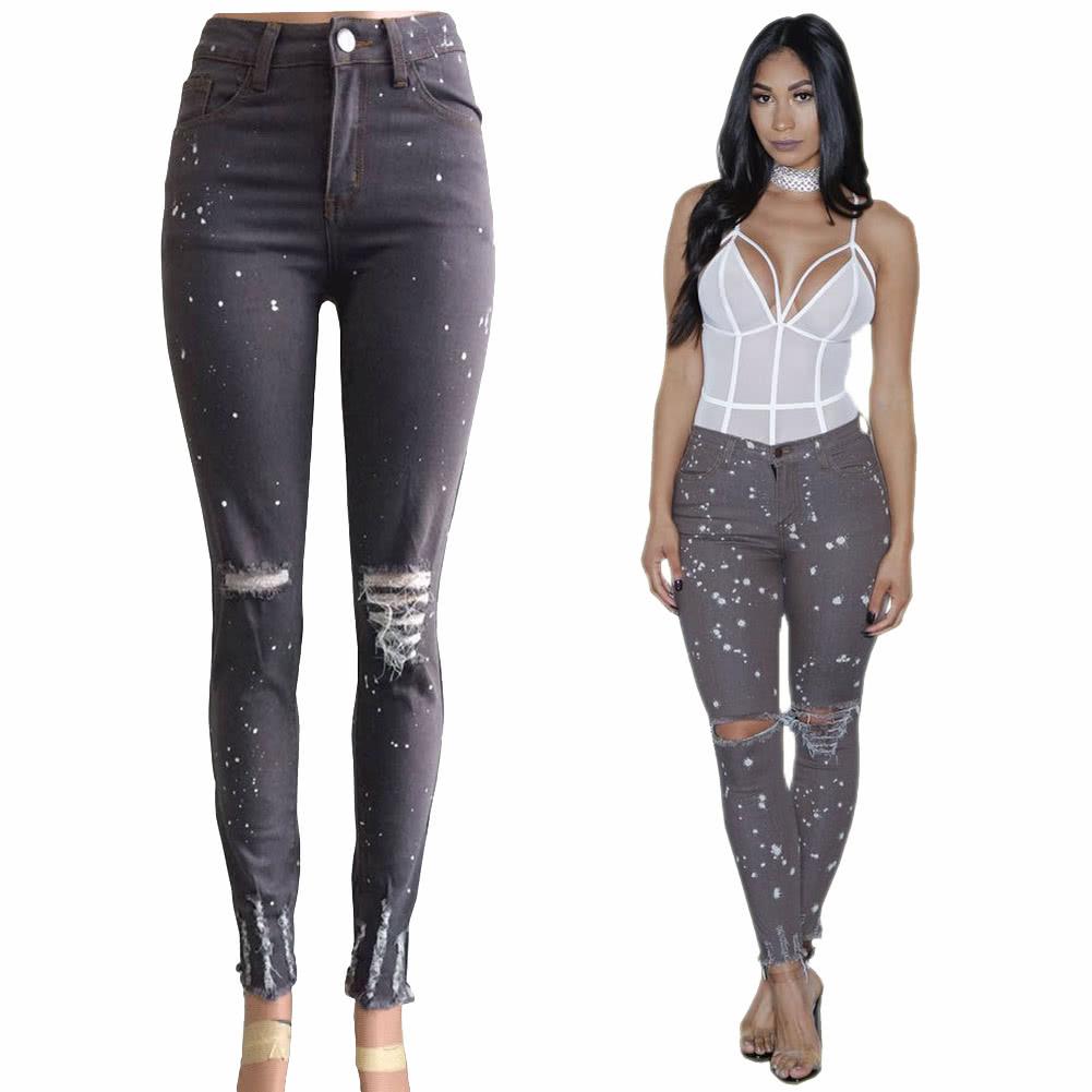 66237fac4e Mulheres jeans stretch denim lavado rasgado Buraco joelho Dots Mid cintura  afligido Sexy Skinny Calças Lápis Cinza escuro cinza escuro xl - Tomtop.com
