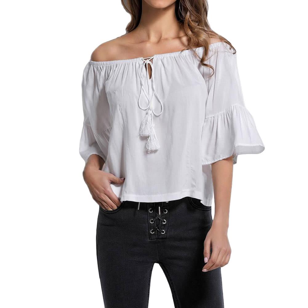 49a413b0dbf Sexy с плеча мундир Блуза Женщины кисточкой Рубашка Лето Boho Повседневный  Топ белый
