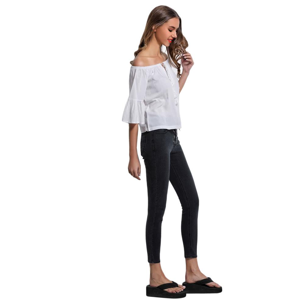 486fffc105c Купить Sexy с плеча мундир Блуза Женщины кисточкой Рубашка Лето Boho  Повседневный Топ белый l белый в интернет магазине Tomtop