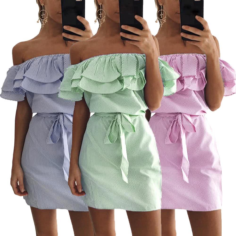 Frauen-Kleid-Streifen-Druck weg von der Schulter Elastische Slash ...