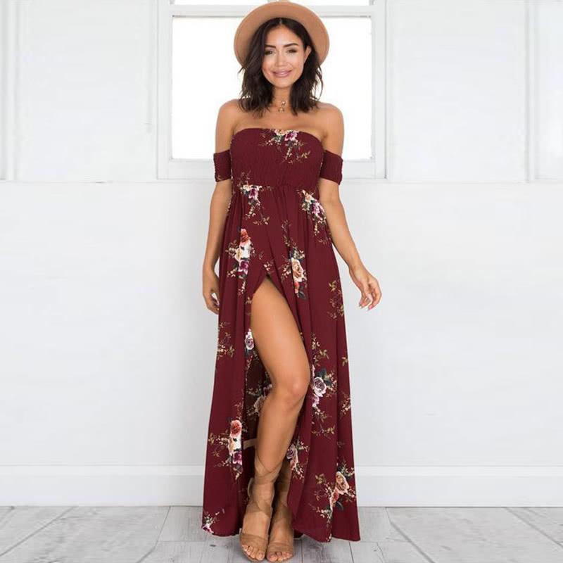 0092cd02441b Sexy Women Boho Maxi Dress Off Shoulder Floral Print Split Summer Beach  Holiday Long Dress White/Burgundy/Beige