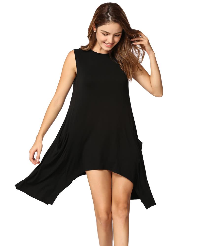 Women Summer Sleeveless Pockets Tunic Tank Tops Asymmetrical Hem