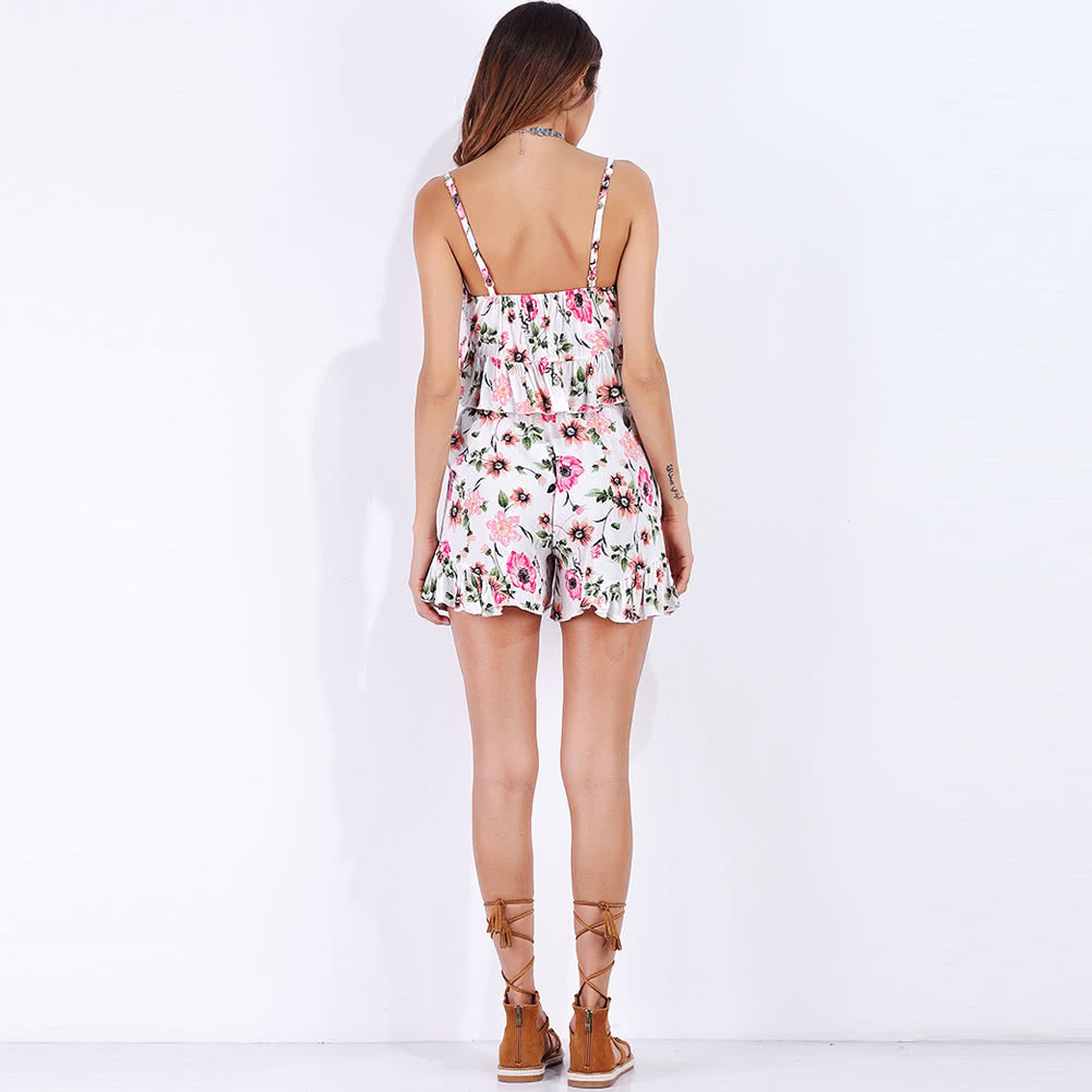 8ef6c15ea2b30 Women Shorts Set Summer Sexy V Neck Tie Sleeveless Floral Ruffles Crop Top  Shorts Two Piece Set Pink xl Online Shopping