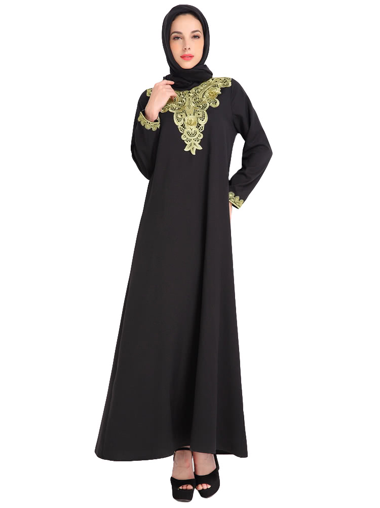 a838b99bd06 Fashion Women Muslim Dress Embroidery Long Sleeve Abaya Kaftan Islamic Arab Robe  Maxi Dress Black Coffee Blue