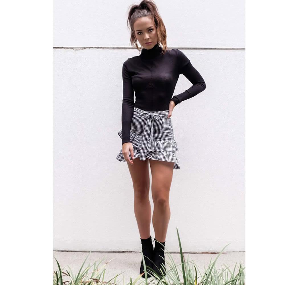df61e14334 Elegant Women Skirt Ruffle Check Plaid Pattern Asymmetric Hem Vintage  Preppy Mini Skirt Black