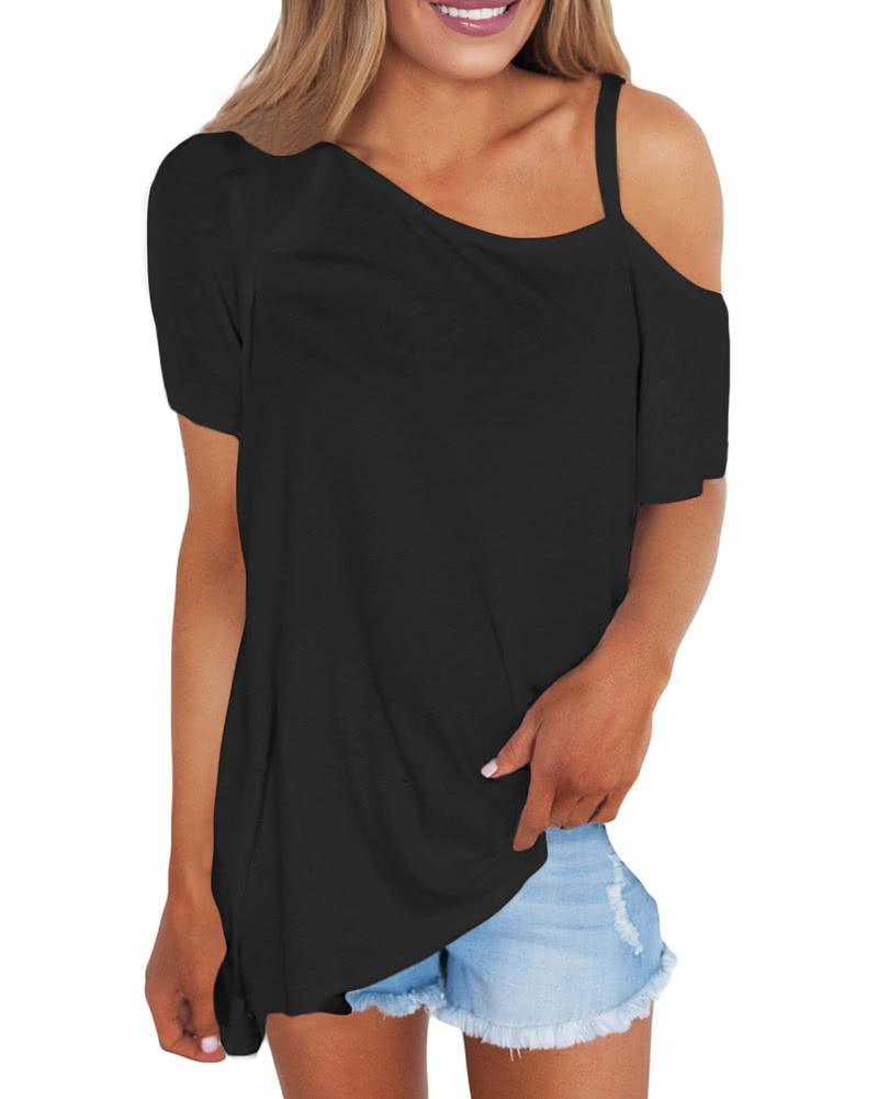 9a2dfb8b895b3 Women Cold Shoulder T-Shirt Cut Out One Shoulder Short Sleeves Loose Solid  Casual Top Tee black l Online Shopping