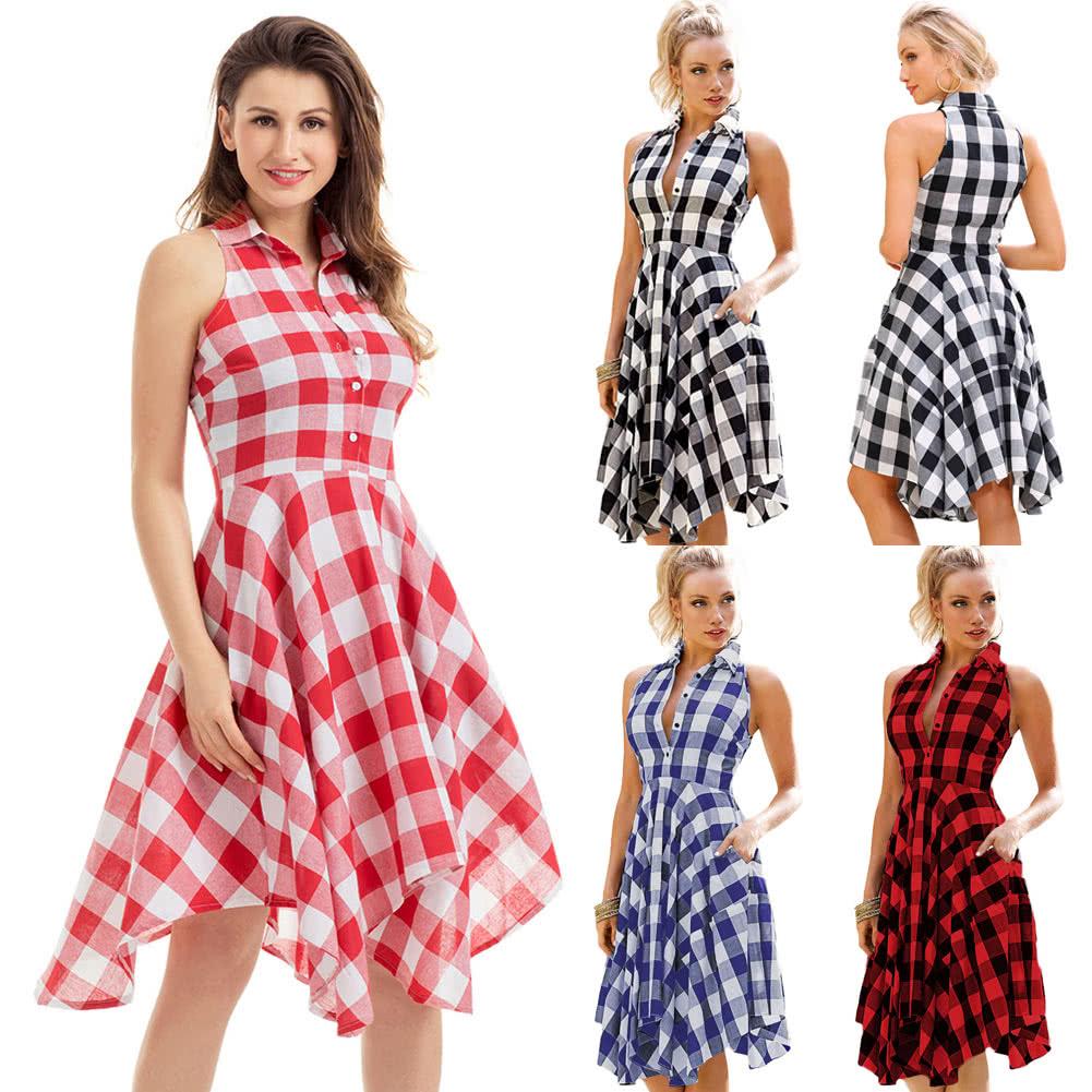 30b1e5488a Europa Mujeres Plaid camisa de vestir chequeado camisa vestido Oficina damas  informal hasta la rodilla vestidos sin mangas