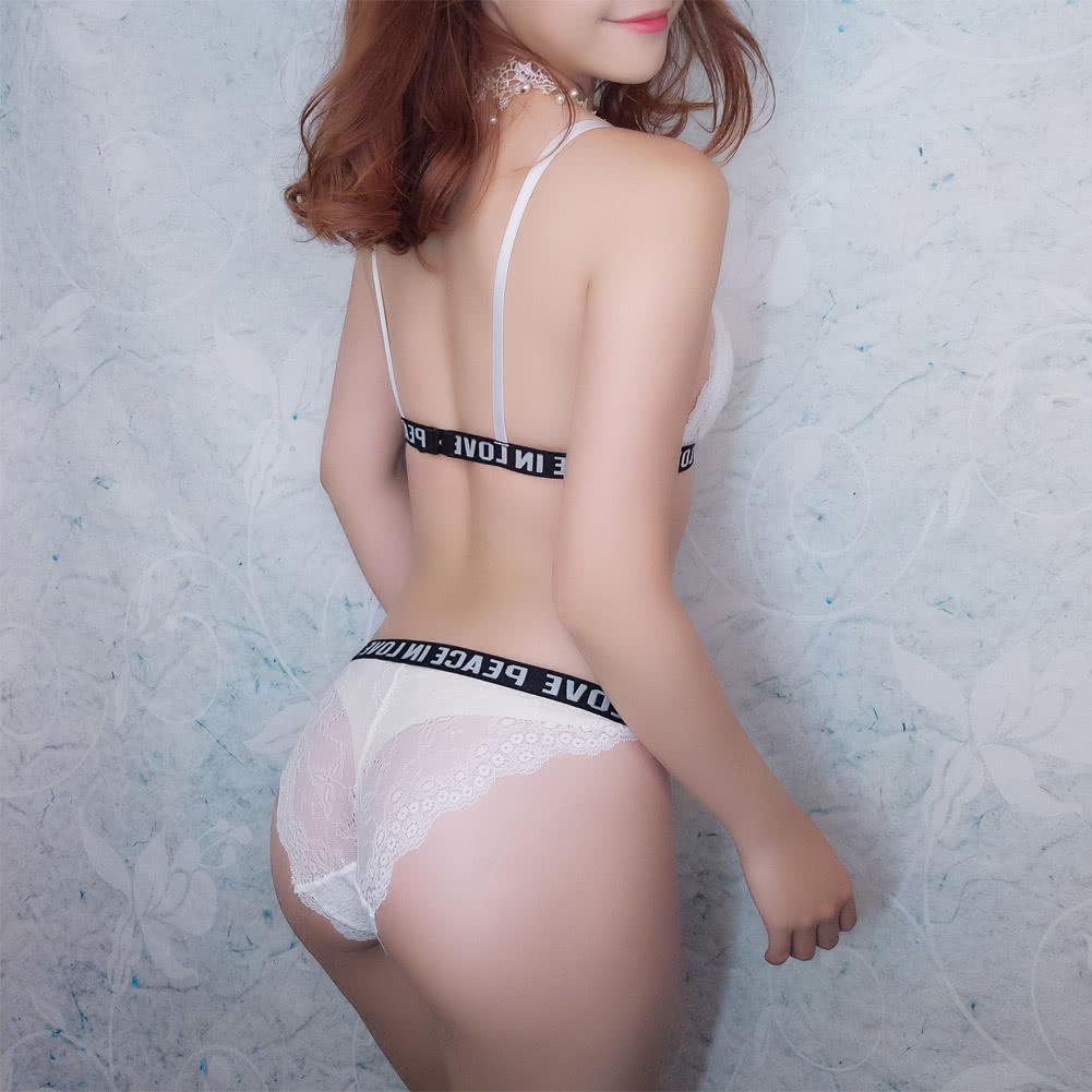 e272face2d1 New Sexy Women Lace Lingerie Set Letter Printed Bra Semi-Sheer Briefs  Sleepwear Underwear Suit Black White Burgundy