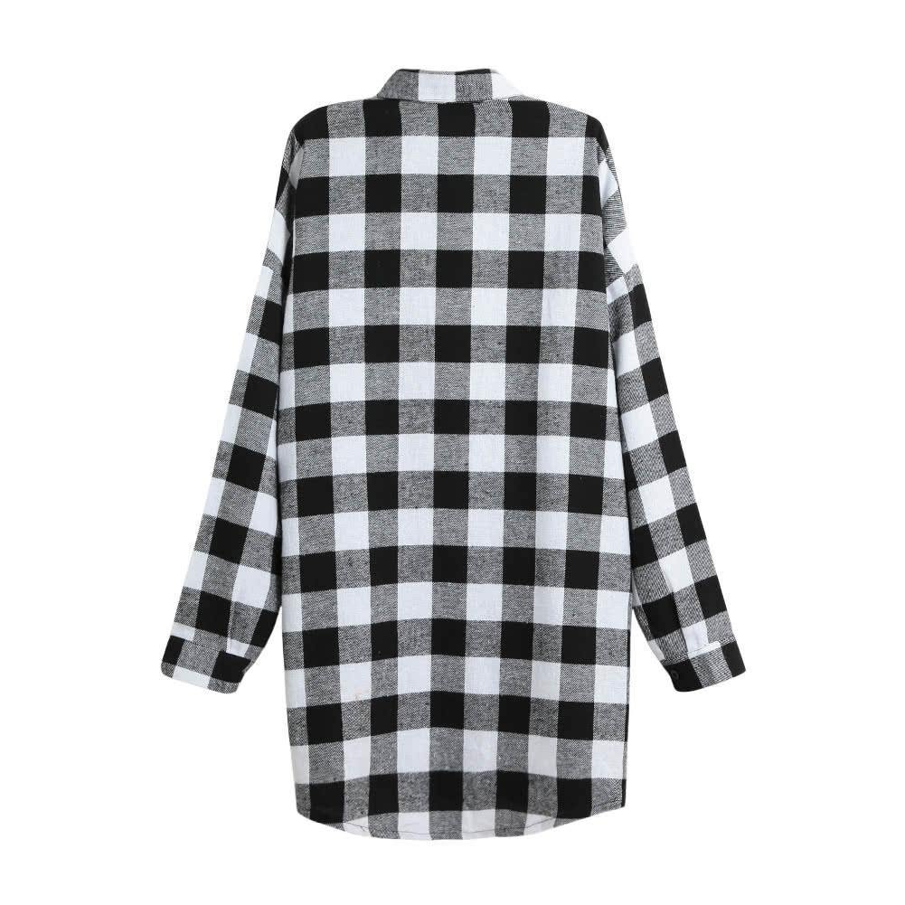 Women Cotton Plaid Shirt Dress Long Sleeve Irregular Plus Size ...