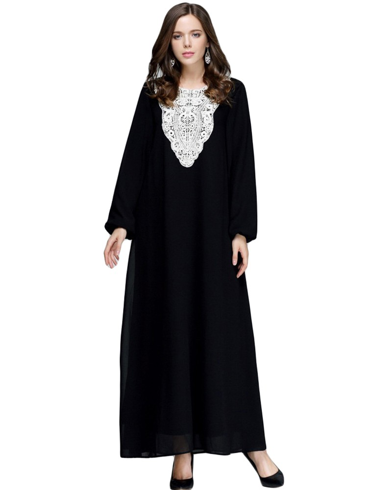 98e63f3012ae7 Muslim Women Plus Size Chiffon Maxi Dress Appliqué Round Neck Long Sleeves  Abaya Islamic Casual Robe Kaftan Turkish Long Dress black 3xl Online  Shopping   ...