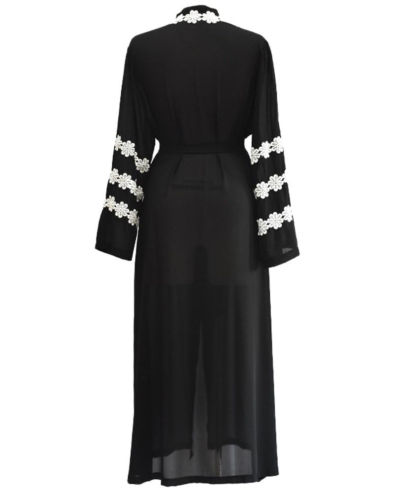 2686c6612a4f Women Muslim Robe Cardigan Crochet Lace Long Sleeve Front Open Long Loose Abaya  Dress Black xl Online Shopping | Tomtop