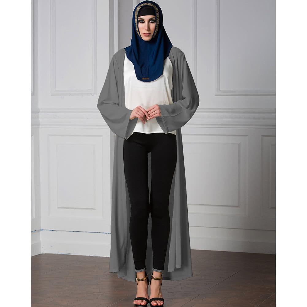 5324b90d5c6 Abaya Cardigan women chiffon muslim abaya cardigan long sleeve open front  robe