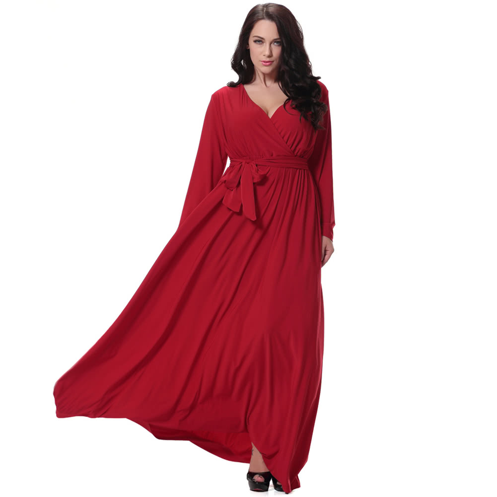 Women Plus Size Maxi Dress Sexy V Neck Long Sleeve Solid Belted Cocktail Party  Dress Swing Long Dress Red a3d96453a13d