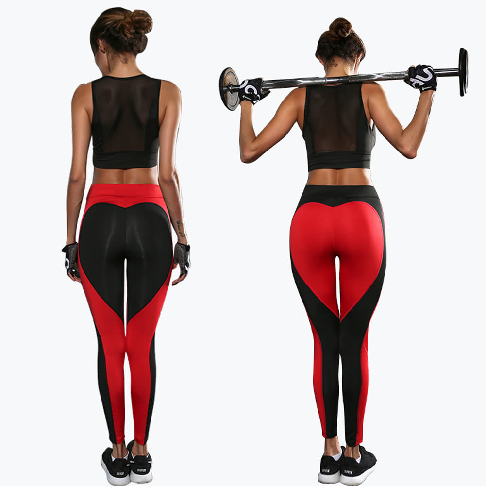 Sexy Women Slim Leggings Sport Yoga Contrast Color Splice ...