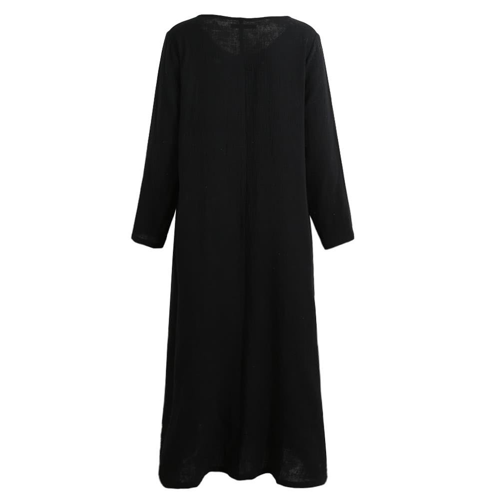09b0bd408d1 Autumn Women Casual Loose Dress Solid V Neck Long Sleeve Cotton Retro Boho Long  Maxi Dress Black Purple Red