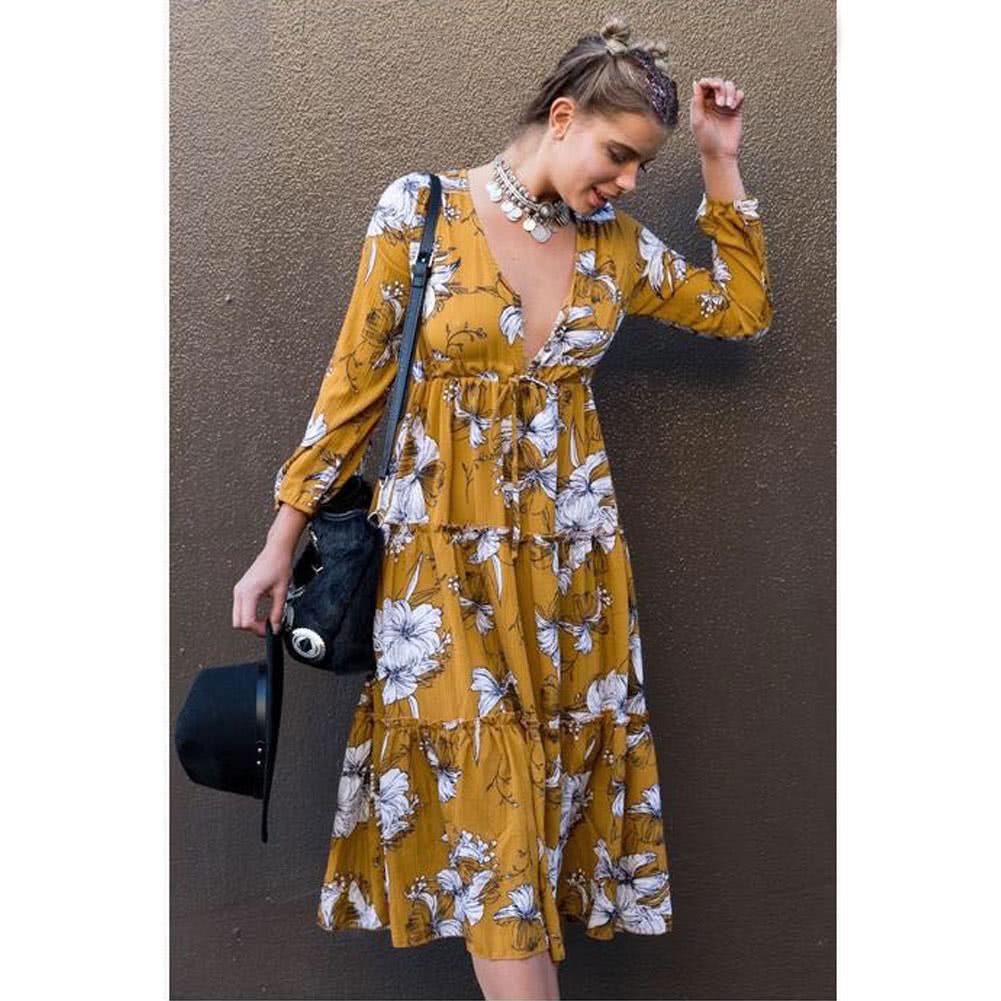 901ba04f38 Boho Floral Impresión Mujer Vestido V cuello Frill mangas largas Casual  Tunic Beach Dress Amarillo s amarillo - Tomtop.com
