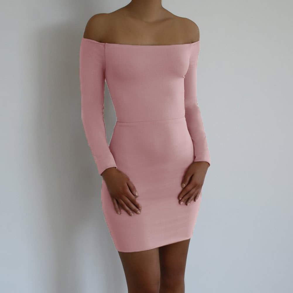 ce9188686889 Women Bodycon Off Shoulder Dress Lace Up Open Back Slash Neck Long Sleeves  Sheath Mini Party Dress pink m Online Shopping