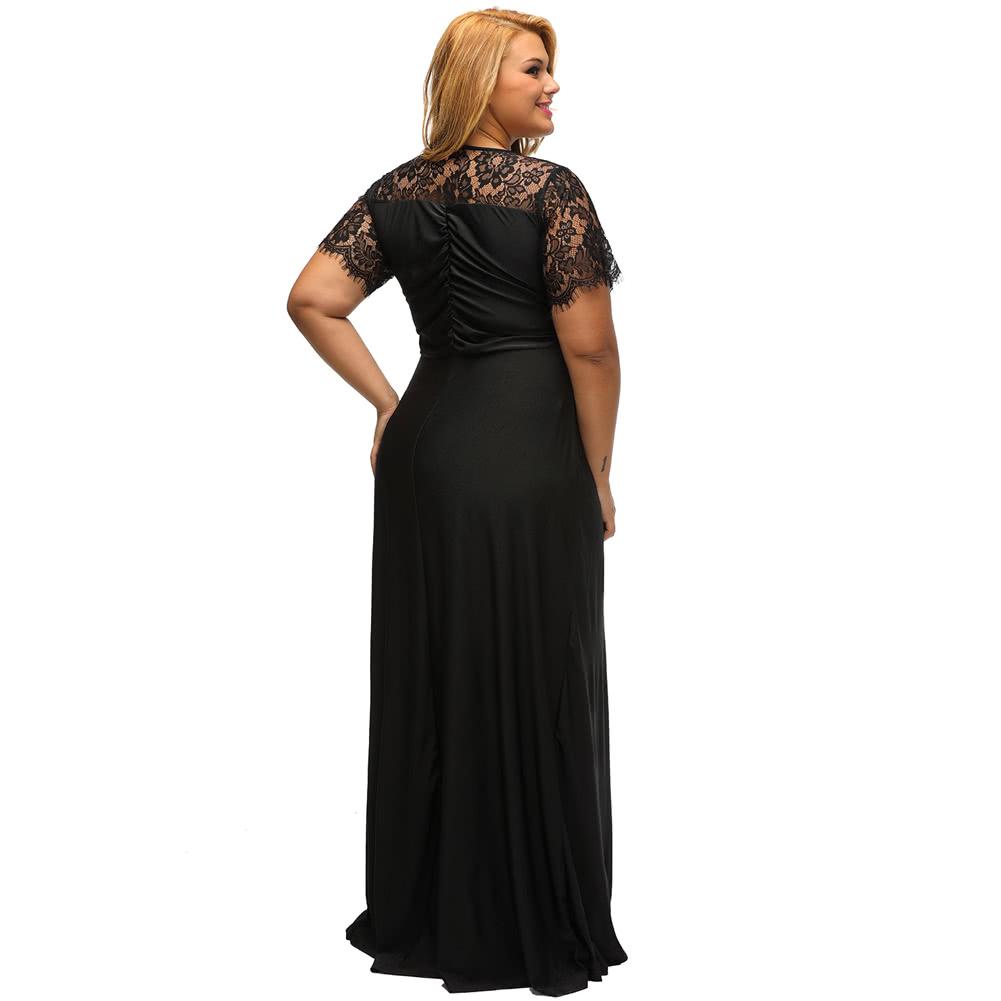 20433b52879 Купить Женщины Плюс Размер Maxi Длинные платья Твердые кружева Splice  Ruched V-образным вырезом с короткими рукавами Элегантное вечернее платье  xxl черный в ...