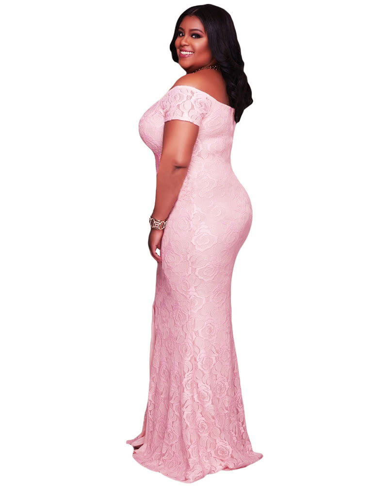 36d4ed94857 Fashion Women Plus Size Maxi Off Shoulder Lace Dress Short Sleeves Split  Hem Back Zipper Elegant Long Gown Pink White