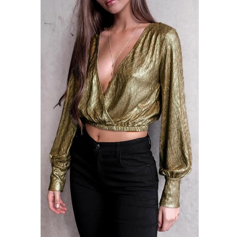 Long sleeve sexy metallic top