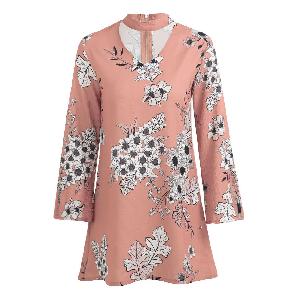 Vestido de Mujeres Mini Vestido Floral Imprimir Choker V cuello de ...