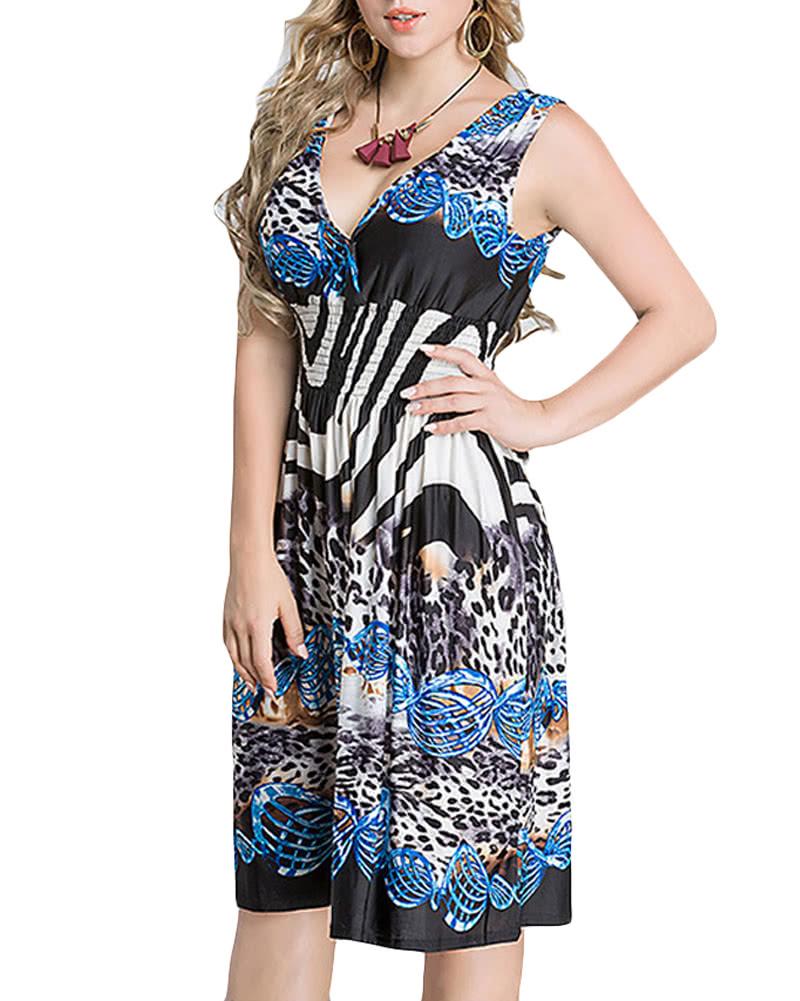 92b8815dc7 Tamanho Grande Mulheres Vestido Midi Gravura Geométrica Profundo V-pescoço  sem mangas elástico de alta cintura elegante vestidos de festa
