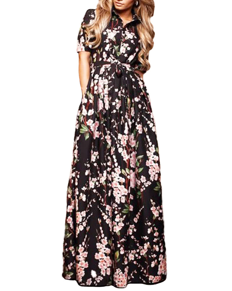 1c792e3b7e71 Women Floral Chiffon Maxi Dress Half Puff Sleeves Turn-down Collar Button  Front Waist Strap Long Dress