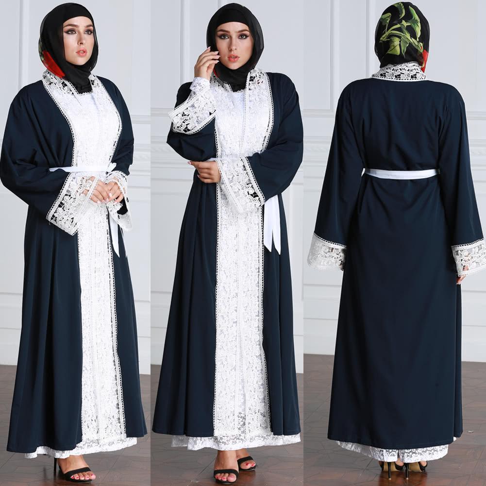 Women Plus Size Muslim Cardigan Spliced Crochet Lace Long Sleeve Islamic  Abaya Maxi Dress Outwear Dark Blue c6022996fd81