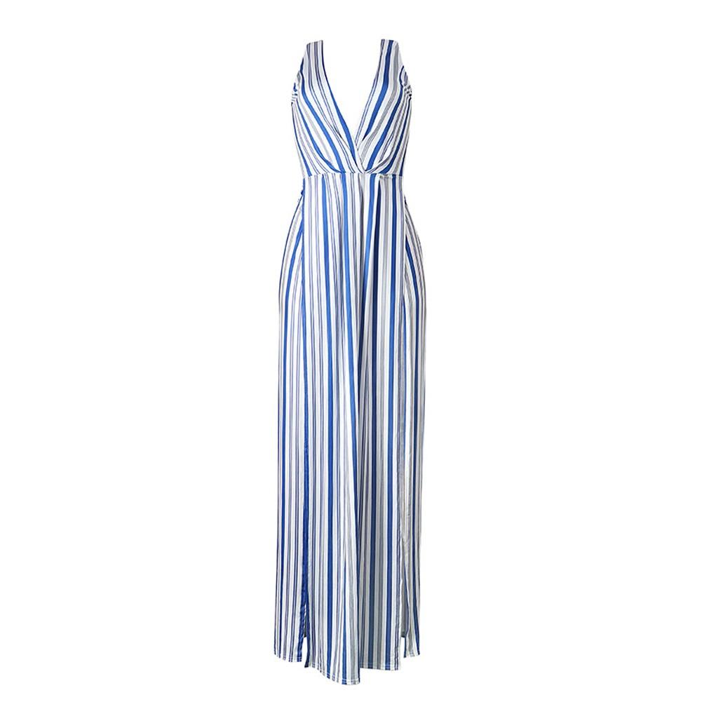 Sexy langes Sommerkleid Frauen Maxi Kleid gestreift tiefen V ...