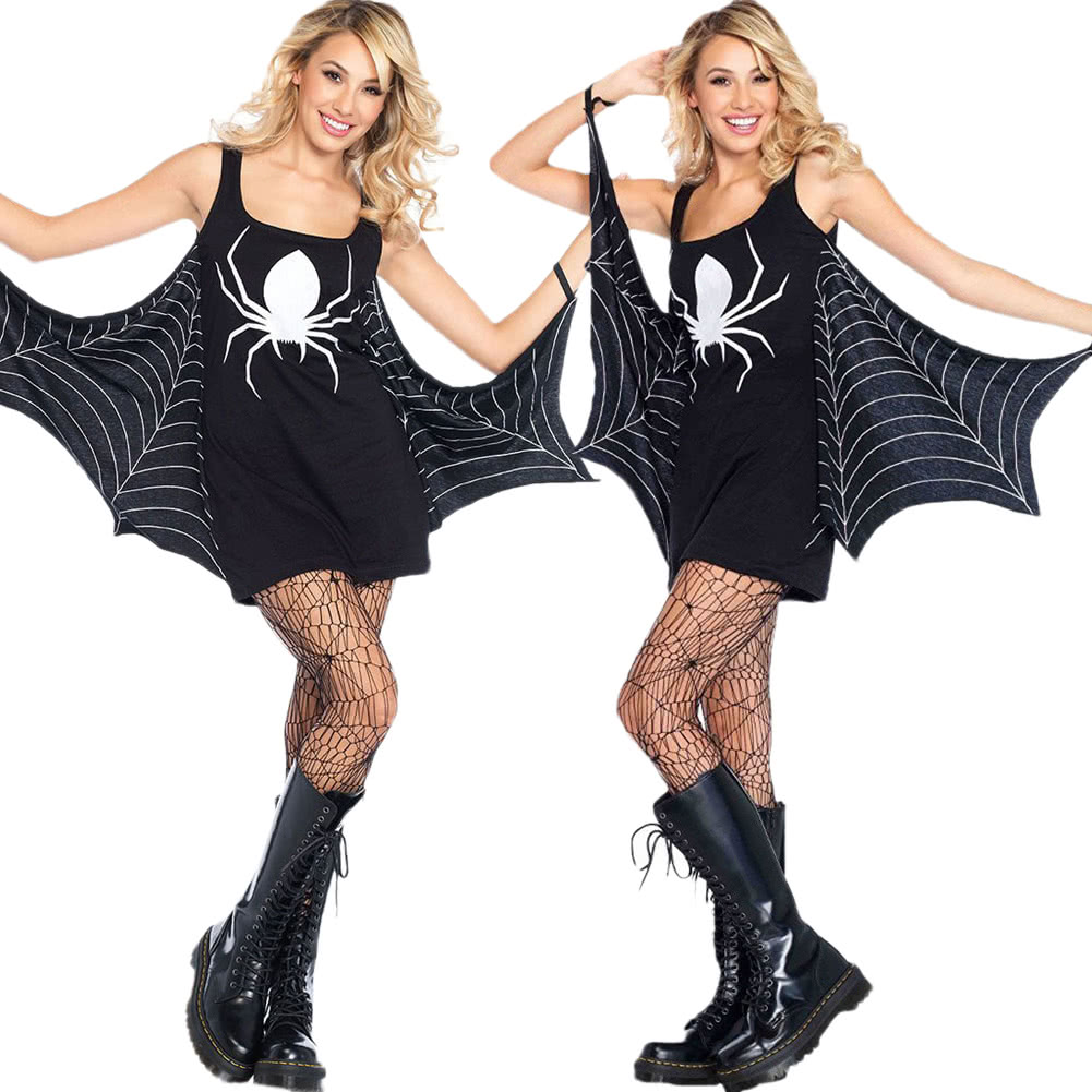 Women Halloween Costume Spider Dress Low Neck Role Play Sexy Adult Seductress Mini Fancy Dress Black black l Online Shopping | Tomtop  sc 1 st  Tomtop.com & Women Halloween Costume Spider Dress Low Neck Role Play Sexy Adult ...