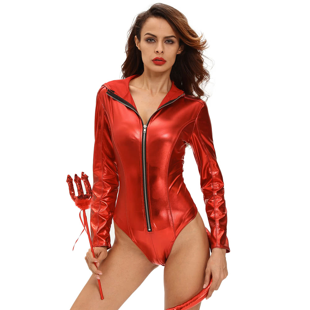 5037ef11bc0 Women Halloween Costume Demon Devil Hooded Bodysuit Rompers Sexy Party  Cosplay Role Play Jumpsuit Playsuit Red red l Online Shopping | Tomtop